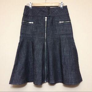 Mixit | Black Fit and Flare Denim Skirt Zipper